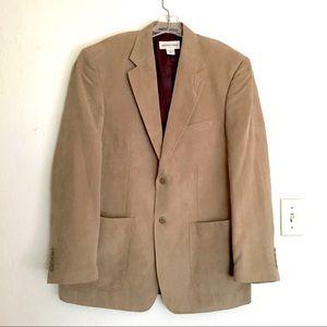 Tan Faux Nubuck Suede Leather Sport Coat Blazer 46